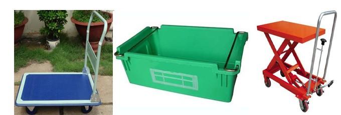 xe đẩy hàng, thùng nhựa